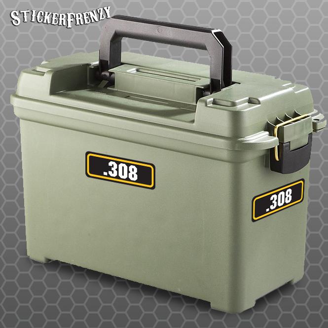 308 4pk Sticker Set Ammo Can Box Decal Bullet Army Gun