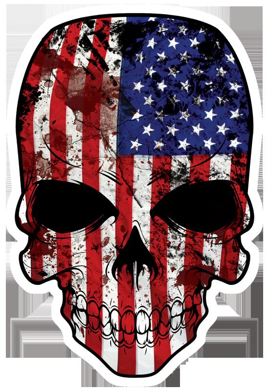 American Flag Skull Die Cut Bumper Sticker Decal Us Usa